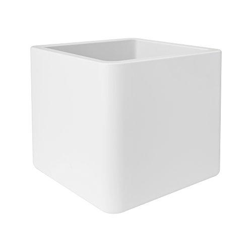 Elho Pure Soft Brick Wheels 50 - Übertopf - Weiss - Drinnen & Draußen  - L 49 x W 49 x H 49 cm