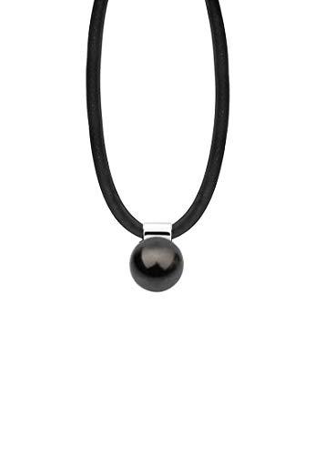 Nenalina Damen Halskette aus Kautschuk schwarz mit Perlen Anhänger (12 mm Swarovski Perle schwarz), Damen-Kette Kautschukband mit 925 Sterling Silber Verschluss, Länge 42 cm, KAS-013