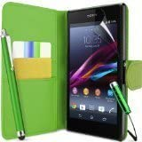 Connect Zone� Green PU Leather Flip Wallet Case For Sony Xperia SP M35H + Screen Protector + Polishing Cloth & Twin Pack Touch Screen Stylus