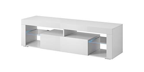 E-com Titan Meuble TV Bas Blanc avec LED, 140 cm