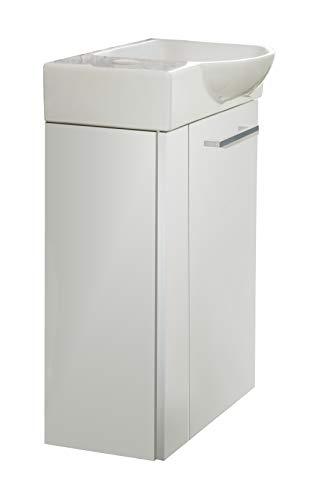 FACKELMANN LINO Gäste WC Set rechts 2 Teile/Keramik Waschbecken/Waschbeckenunterschrank mit 1 Tür/Badschrank mit Soft-Close/Türanschlag rechts/Korpus: Weiß/Front: Weiß/Breite: 45 cm