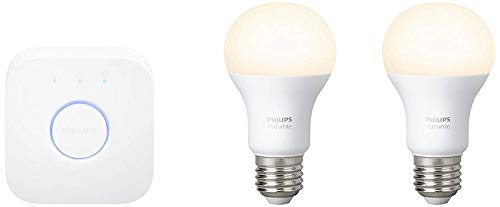 Philips Hue White - Kit de 2 bombillas LED E27 y puente, 9,5 W, iluminación inteligente, luz blanca cálida regulable, compatible (compatible con Amazon Alexa, Apple HomeKit y Google Assistant)