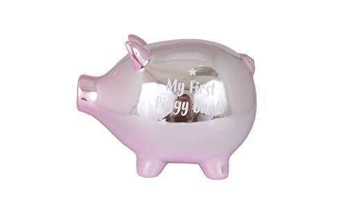 60811 Spardose für Babys, Keramik, Aufschrift My First Piggy Bank, Rosa (Piggy Baby Bank)