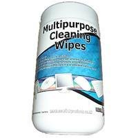 100 Pack Multipurpose Cleaning Wipes - Removes dust, grime, dirt, ink residues - Suitable for use on computer cases, peripherals and keyboards - Can be used to clean telephone handsets and headsets - 100 wipes (130x150mm) contained in a re-sealable tub dispenser - Alcohol free moist cleaning wipes for use on most surfaces, ideal for use with most computers / office equipment. i.e. screens, keyboards, mice, CD/DVD, TV, video, telephones