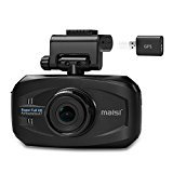 MAISI Smart Car Recorder with GPS, Super HD 1296P Color Black Box WDR Dashboard Camcorder, Black (170-degree True Wide Angle, Automatic Ignition/Motion/Crash Detection and Recording with G-sensor, Audio Recording, Automatic Seamless Video Recording in Loop, Smart ADAS Feature, Speed/Deviation Warning, Headlight On/Off Warning, Support Up to 32GB SD Card)