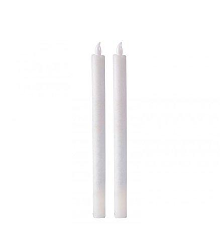 Set de 2velas de candelabro blancas LED de cera con Timer
