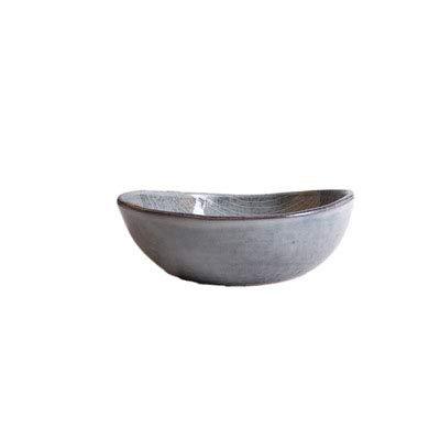 Europäische gestreifte Keramik Suppenteller nach Hause Retro Runde flache Salat Suppenschüssel Suppe Deep Dish Geschirr 6,5 Zoll geformt grau Suppenschüssel (Gestreifte Servietten Grau)