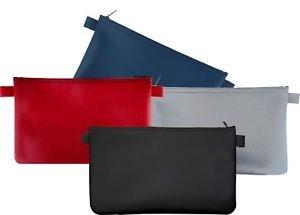 4 Banktaschen aus Kunstleder (je 1 x blau, 1 x grau, 1 x schwarz, 1x rot)