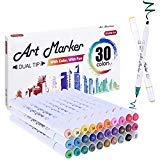 30 Colours Dual Tip Alcohol Based Art Markers,Shuttle Art Alcohol Marker Pens Perfect