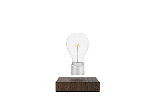 Flyte Buckminster - Bombilla, levitatoria, madera, vidrio y cromo, 18,5x27x13,5cm