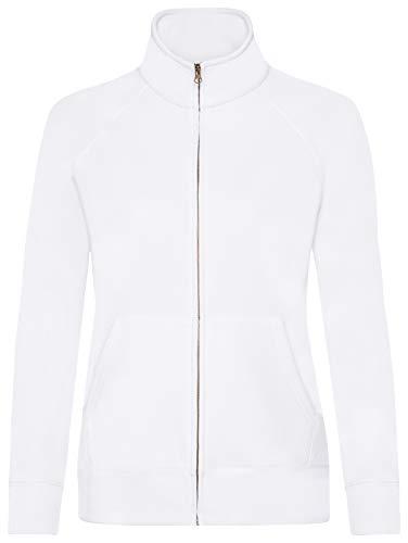 Damen Sweatjacke Stehkragen Sweatshirt Hoodie Pullover Shirt verschiedene Größe und Farben - Shirtarena Bündel M,Weiß