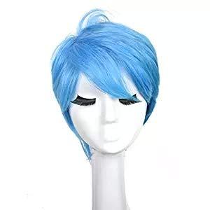 (Cos Geist Agent Team, Blau Kurze Gewellte Mode Haar Für Erwachsene Anime Cosplay Kostüm Haar Party Perücke)