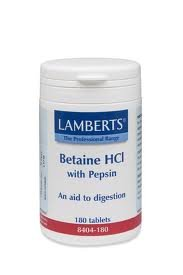 Price comparison product image Lamberts Betaine HCl 324mg/Pepsin 5mg - 180 Tabs