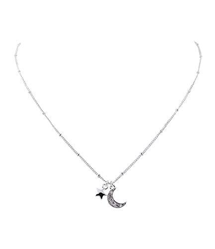 SIX Damen Halskette, Gliederkette, Perlen, Stern, Mond, Strasssteine, Silber (779-692)