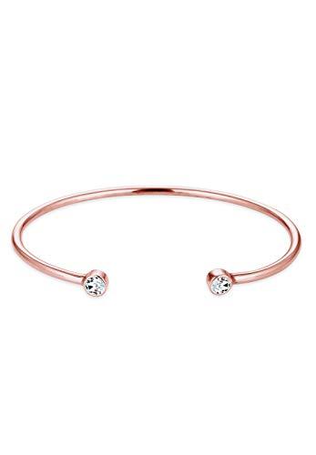Elli Damen Schmuck Armband Armreif Trend Geo Funkelnd Glamour Silber 925 Rosé Vergoldet Swarovski® Kristalle Länge 17 cm