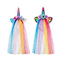Boao 2 Pieces Rainbow Unicorn Headband with Colorful Tulle for Girls Teens Toddlers Children Party Hairbands (Style 2)
