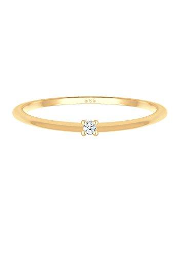 Diamore Ring Verlobung Solitär Diamant (0,02 ct.) 585 Gelbgold