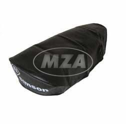 Original Sitzbezug glatt, schwarz mit Schriftzug für kurze Sitzbank bei Simson KR51/1- Schwalbe, SR4-2 Star ( MZA-10210 ) BISOMO® (1 Sitzbank Eine)