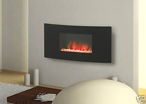 Charlton Jenrick Curved Glass Wall Mounted & Hang On The Wall LED Electric Fire With Backlight