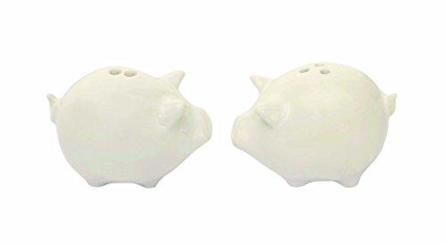 Creative beeinflußt Pig Salz- und Pfefferstreuer Set aus Steingut, Weiß Pig Cookie Jar