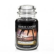 Yankee Candle Bougie parfumée Noix de coco Noire Grand Bocal réchauffant – Couleur: Noir
