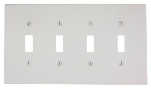 Leviton 4-way Toggle (Leviton 80512-W 4-Gang Toggle Device Switch Wallplate, Midway Size, Thermoset, White by Leviton)