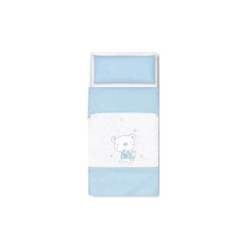 pirulos 34013013 - Sac couette Motif ours Star, coton, 72 x 142 cm, couleur blanc et bleu