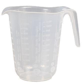 Messbecher, 1 Liter, d= 13 cm, Höhe= 16 cm, Transparent, Polypropylen