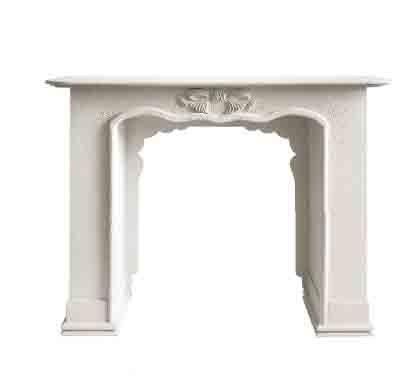 Camino bianco in legno stile vintage con decorazione centrale L'ARTE DI NACCHI VZ-77