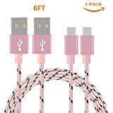 USB Type C Cable,Nylon Braided USB Type C Long Cord Fast Charging Sync Cable for Samsung Galaxy S8,S8 Plus,Apple New Macbook,Google Pixel,Nexus 6P/5X,LG G5/G6 and More. (Camo) (Pink 2Pack 6FT)
