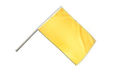 Große Stockflagge / Stockfahne Einfarbig Gelb + gratis Sticker, Flaggenfritze® - Schwenken