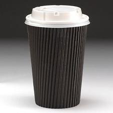 Lot de 50 gobelets à café jetables noirs avec couvercles blancs Carton ondulé 34 cl