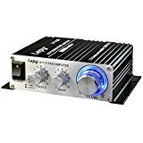 Mini Verstärker, FisherMo Klasse D Hi-Fi Stereo Mächtig Endstufe 2 Kanäle Digital Musik Audio für Haus PC TV Auto Motorrad mit Netzteil