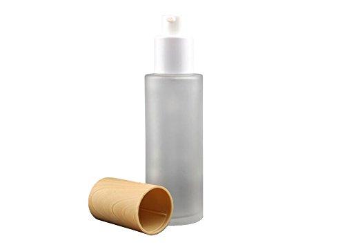 1PCS Klar Nachfüllbar Glas Creme Lotion Fläschchen Verpackung Flaschen mit Holzmaserung Kappe Kosmetik Make-up Gläser Topf Lippenbalsam Parfüm Ätherisches Öl Vorratsbehälter (Pumpe, 60ml/2oz) -