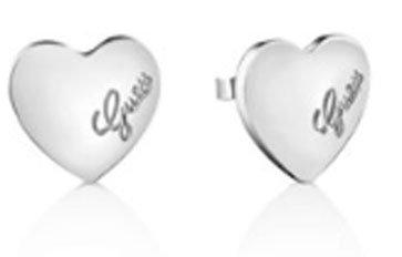 """Orecchini a bottone silver, cuore con scritta """"GUESS"""". UBE61053"""