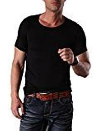 EDTara Men's Casual Sleepwear Lounge Modal Short Sleeve Round Neck Slim Top T Shirt Pajama Black Asia M