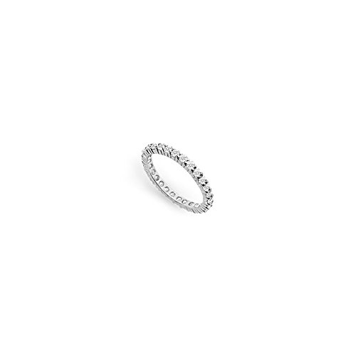 One Carat Diamond Eternity Band 18K White Gold First Wedding Anniversary Jewelry Wedding Band (18 White Band Wedding K Gold)