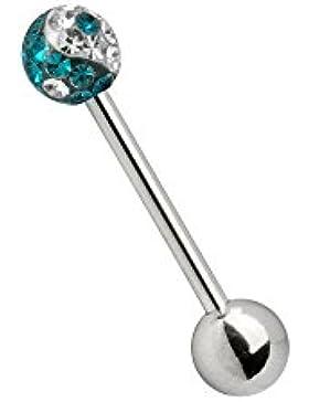 Karisma Zungenpiercing Piercing Titan G23 Mit Swarovski Elements Kugel 5mm Ying Yang Epoxydharz- Weiss und Türkis