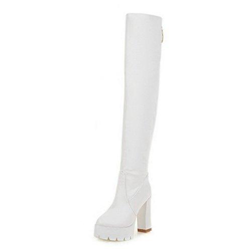 VogueZone009 Damen Ziehen Auf Hoher Absatz Rein Hoch-Spitze Stiefel Weiß