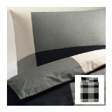 Ikea Brunkrissla Duvet Cover and Pillowcase, Black/Gray, Full/Queen (Double/Queen) by IKEA