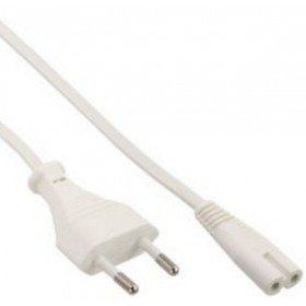 InLine 16602W - Cable (2 m, Male Connector/Female Connector, Enchufe Tipo C, C7 acoplador, Blanco)