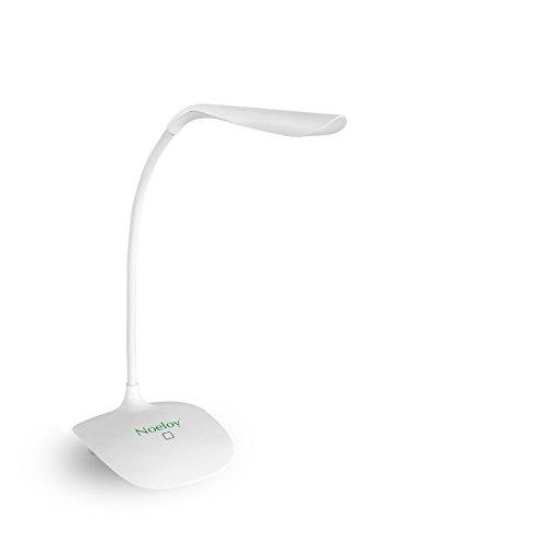 Noeloy® Lampada da Tavolo a LED 1.5W con porta USB,ricaricabile,lampada da scrivania,collo flessibile, touch Control, 3 livelli di luminosità, ideale per l'utilizzo in casa, ufficio, studio, lettura, ecc. Design moderno,Colore bianco.