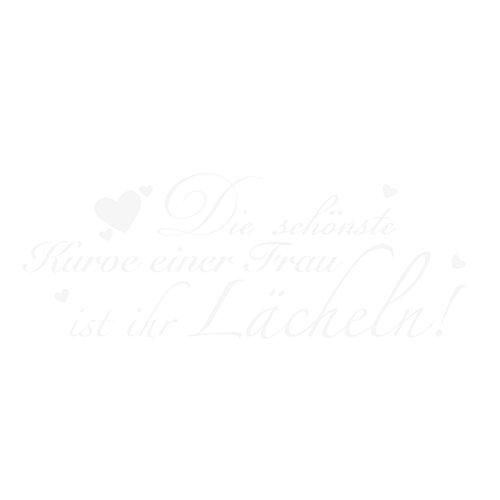 WANDKINGS Wandtattoo - Die schönste Kurve einer Frau ist ihr Lächeln! - 85 x 31 cm - Weiß - Wähle aus 5 Größen & 35 Farben