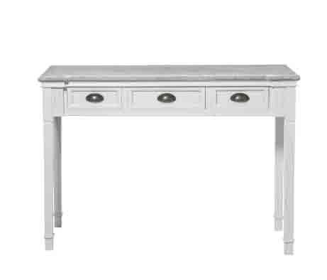 Consolle bianca tre cassetti in legno con rifiniture color legno L'ARTE DI NACCHI in stile vintage OP-73