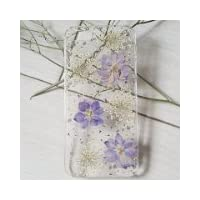 Sixspace Personalized Purple Larkspur and White Lavender Real Dried Pressed Flowers Case for iPhone 5 / 5s