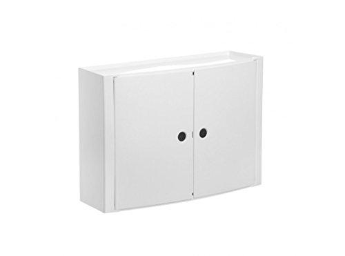 TATAY 4480202 - Armario de baño horizontal con dos puertas en PP, 46 x 15,5 x 32 cm, apto para sistema de fijación Glu&Fix armarios, blanco
