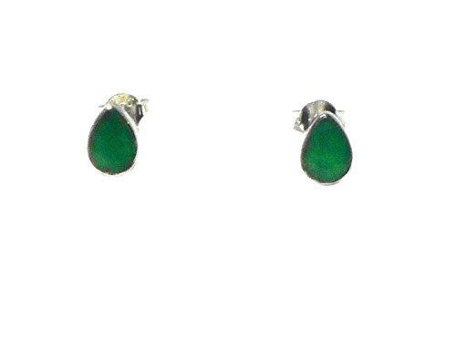 Smaragd Sterling Silber 925Edelstein Ohrstecker/Ohrringe–5x 7mm (emst0905181) (Weihnachts-gecko)