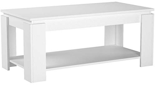COMIFORT T09B - Mesa de Centro Elevable Revistero Incorporado Mesas salón Color Blanco Mate 100x50x43/55 cm (Nuevo Modelo 2019)