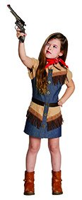 (Kinderkostüm Cowgirl Gr. 116- 164 Mädchen Jeanskleid Fasching Western Kostüm (140))