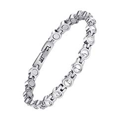 Jeroot Magnetarmband,Damen Magnetische Armbänder für Arthritis Verschluss Edelstahl Armband Magnet Damen Gesundheit Magnetarmband Energetix (White)